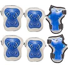 Pamase Juego de protecciones deportivas, incluye rodilleras, coderas y muñequeras, para niños y adultos, ideal para ciclismo y patinaje, azul, medium