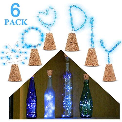 Wein Flasche Natural Cork Base, 6Stück 2FT/15LED Kork Leuchten DIY Form Kupferdraht Fairy Starry Mason Gläser Lichterkette Stimmung Decor für Abendessen Tisch, Mittelpunkt, Party, Hochzeit (kühles Weiß) Cork Light(Blue)