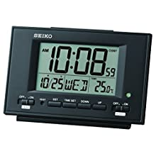 Seiko QHL075K-Sveglia LCD con Calendario e termometro, Colore: Bianco, 9.5 x 15 x 5.6 cm