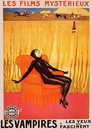 """Poster in formato A3 con riproduzione su cartolina illustrata della locandina del film francese del 1915 """"Les Vampires"""", realizzata da Achille Mauzan, stile vintage, su carta lucida di grammatura 250 g/m²"""