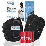 Ortho+ Adjustable Posture Corrector – Shoulder Strap for Men and Women – Neoprene Posture Brace – Adjustable Upper Back and Clavicle Support Strap – Free Resistance Band and E-Book Included