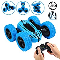 Twister.CK RC Stunt Car with Remote Control, 2.4 GHz RC Racing Trucks Off Road, 4WD Double Sided 360° Spins & Flips RC Crawler Outdoor Toys for Kids, Blue