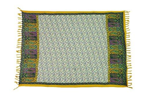 Sari Tuch (Original Yoga Sarong Pareo Wickelrock Strandtuch Rund ca 170cm x 1110cm Handtuch Schal Kleid Wickeltuch Wickelkleid Traditionell Bali Tempel Sari)