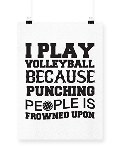 hippowarehouse I Volleyball spielen, weil Stanz Menschen ist verpönt Poster Druck Wall Art Design A4 weiß (Volleyball-pool-net)