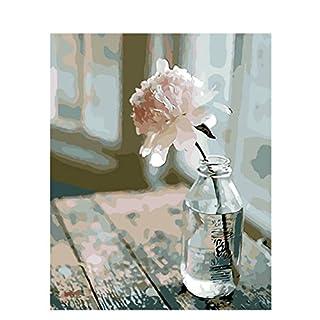 JAGENIE No-framed Digital Peinture à l'huile DIY Peinture par numéro d'une seule Fleur Rose 40*50cm 40*50cm