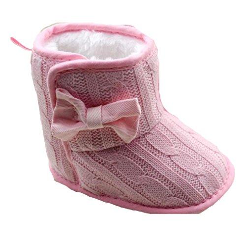Longra Baby-Bowknot weiche Sohle Winter warme Schuhe Stiefel (11, (Stiefel Für Mädchen Braune)