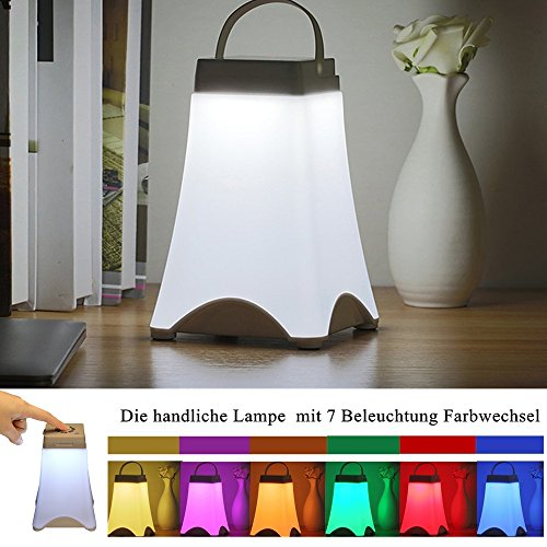 SOLMORE LED Nachtlicht kinder Nachttischlampe Tischlampe mit dimmbar 7 Beleuchtung Farbwechsel Touch Sensor USB Tragbar Lantern Lampe Zeltlampe Schlummerleuchten Stimmungslichter für Kinder Baby Tisch Wohnzimmer Schlafzimmer Camping