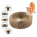 Katzen Kratz-Bett, zusammenklappbarer Karton-Kratzer Spielzeug Runde Kratz-Lounge Bett für große und kleine Katzen, Pappkratzbaum