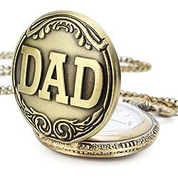 YESURPRISE Antique Vintage DAD Bronze Tone Men Pocket Chain Quartz Pendant Watch Necklace Gift #5
