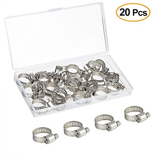 FEPITO 20 stücke Schlauchschelle Clamp 10-16mm Einstellbare Edelstahl Jubilee Clip Worm Stick Rohre Rohrschelle in PP Box