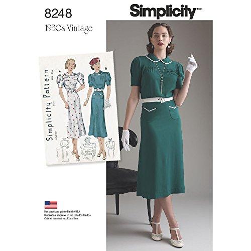 7daf73c7675d Simplicity Pattern 8248 D5 Misses  Vintage 1930 – Cartamodello per Abiti da  Ragazza