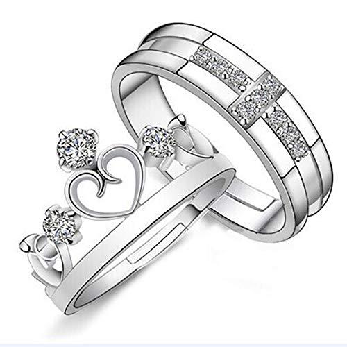 Cwemimifa Edler Edelstahlring Geeignet als Verlobungsringe, Prinz & Prinzessin geliebte Kaiserkrone verstellbare Ringe Geschenk, Silber, Freie Größe