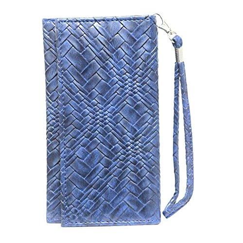 Jo Jo A5 Bali Leather Wallet Universal Pouch Cover Case for Intex Aqua Octa Dark Blue