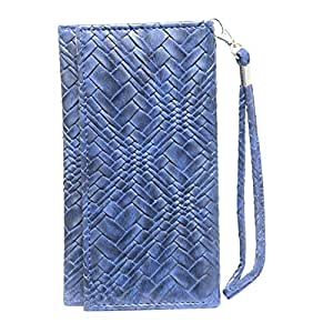 Jo Jo A5 Bali Leather Wallet Universal Pouch Cover Case For Micromax X55 Blade Dark Blue