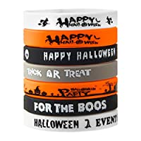 FEPITO 35 Pcs Halloween Wristband Silicone Wristbands 7 Classic Halloween Patterns Rubber Band Bracelets for Halloween Party Supplies Favors