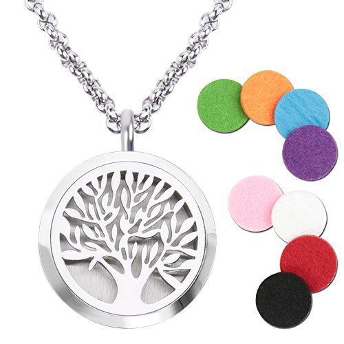Aromatherapie Ätherisch Öl Diffusor Halskette Duftstofflocket Aroma Anhänger Baum Medaillon Locket Schmuck Edelstahl Damen Kette mit 8 farbig Filzkreisen Geschenk Box
