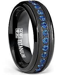 Ultimate Metals® Alianza Eternidad de Boda Titanio Negro Para Hombre, Banda Anillo Con Circonitas Redondas Azul, 7mm
