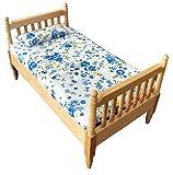 Inusitus Puppenhaus Doppelbett | Miniatur Möbel Bett | Puppen Spielzeug | 1/12 (Hell)