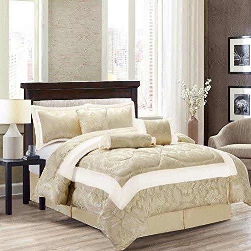 Supreme Betten Luxus 7-teiliges Set Tagesdecke Super Soft Betten Set ideal für Wohnzimmer und Hotels Tröster, Betty Cream, King Size