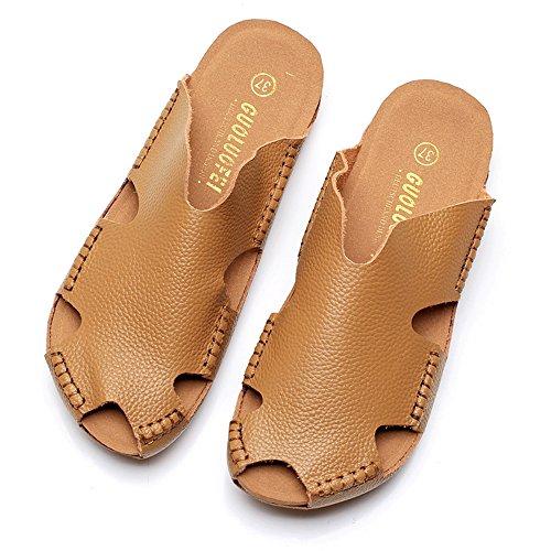 Été des sandales Pantoufles à bascule mâle / femelle Chaussons Baotou Chaussures à chaussures de couple Chaussures de plage (Noir / Marron / Rose / Rouge / Blanc / Jaune) Couleur / taille facultative  Marron
