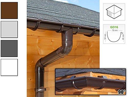 Dachrinnen/ Regenrinnen Set   viereckiges Dach (4 Seiten)   GD16   in anthrazit, weiß, braun oder grau! (Umriss bis 17.50 m (Kompl. Set), Braun)