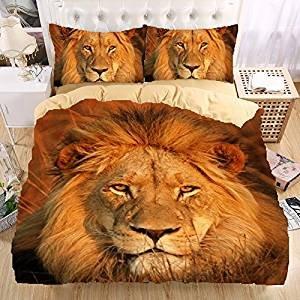 Der König der Löwen 3D Bettwäsche-Set Print Bettbezug Set wunderschönes Muster Real Effect lebensecht Bettwäsche Hochwertige, 100 % Polyester, lion king, Einzelbett (König Bettbezug Bettwäsche-set)