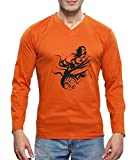 #3: Clifton Men's Printed Full Sleeve V-Neck T-Shirt-Rust-Hanuman-B