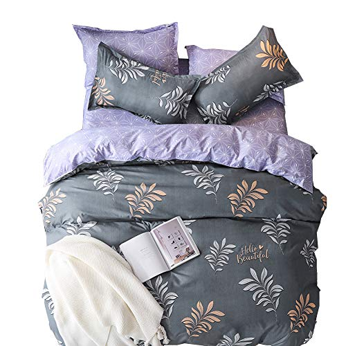 ED-Lumos 4 teilig Bettgarnitur Bettwäsche Set Bettbezug Betttuch Kopfkissenbezug Baumwolle Grau mit Blättern 220 cm x 240 cm (Baumwolle Bunte Blatt König)