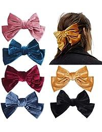 6 piezas 8,3 pulgadas gran pinza de pelo de terciopelo para mujeres elegantes pinzas de pelo hechas a mano accesorios de pasadores bowknot(vino tinto, rosado, amarillo, azul oscuro, azul gris, negro)