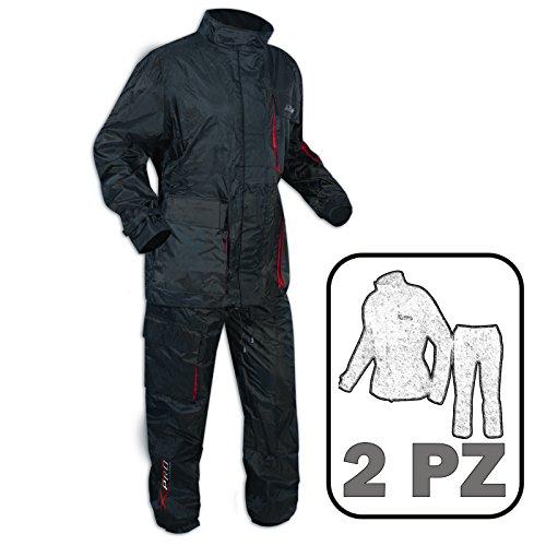 Impermeabile 2 Pezzi Anti Pioggia Tuta Pantaloni Giacca Pantoloni Moto Nero M