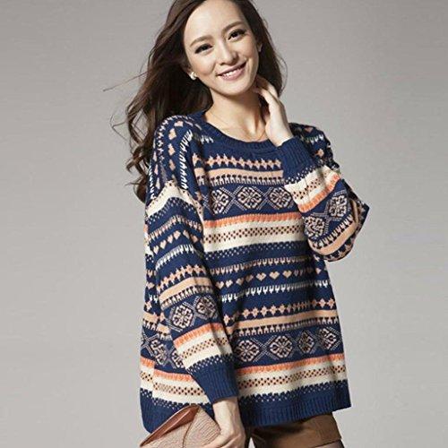 Minetom Pulls à Manches Longues Géométrique de Femme Pull Avec Capuche Automne Dames Manteau Hiver Sweat Shirt Beige