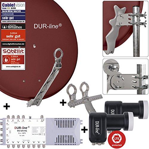 DUR-line 8 TN/2 Satelliten Set - Qualitäts-Alu-Satelliten-Komplettanlage - Select 75/80cm Spiegel/Schüssel Rot + Multischalter + 2xLNB - für 8 Receiver/TV [Neuste Technik, DVB-S2, 4K, 3D]