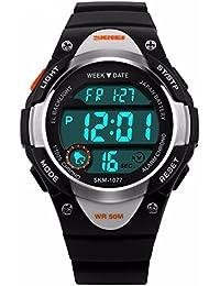 ALPS Bambini Multi Funzione LED digitale impermeabile orologio sportivo (Nero)