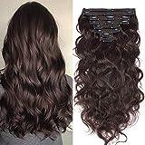 Extension Cheveux Naturel a Clip Ondulé - 100% Remy Human Hair Double Weft 8 Pcs Extensions (#02 Brun, 45cm-140g)