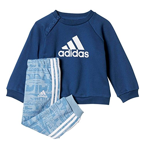 adidas Jungen French Terry Jogginganzug Trainingsanzug, Tacblu/Mysblu/White, 98