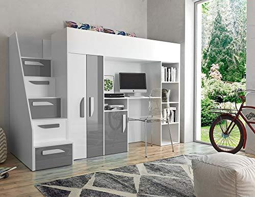 Etagenbett für Kinder PARTY 14 Stockbett mit Treppe und Bettkasten KRYSPOL (Weiß + Grau Glanz) (Kinder-hochbett Mit Treppe)