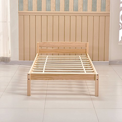 Willstone Wooden Bed Frame Solid Pine Wood Bedstead for Home Bedroom Children Bedroom (3FT Simple, Oak)