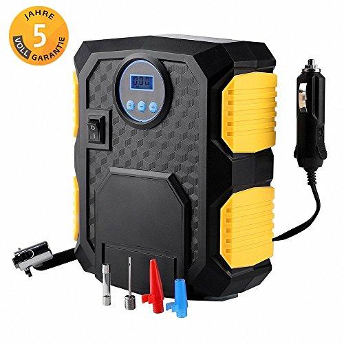 Mbuynow Auto Kompressor, Auto Reifenpumpe 12 V Kompressor Pumpe für Autos mit LED-Licht und Digital-Manometer,10 Bar/150 PSI, 3 Ventiladapter 3M Kabel mit 12V DC Zigarettenanzünder