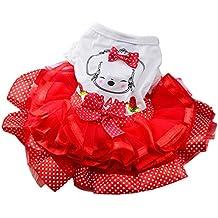 Mascota Perro Vestido de tutú Paño Precioso (S, Rojo)