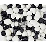 Asian Hobby Crafts Pebbles Glossy Home Decorative Vase Fillers Stone, 2 KG(Black & White)