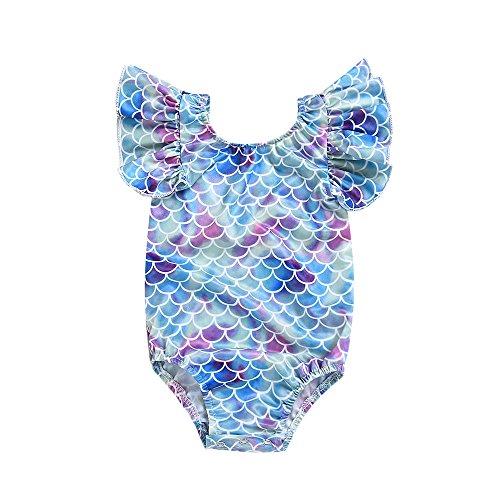 Mebeauty Kinder Mädchen Badeanzug Mädchen Kinder Fisch-Skala Einteiler Badeanzug Baby Print Bunte Schwimmen Kostüm Overall Netter bunter Schwimmen-Kostüm-Badeanzug (Größe : 120(3-4 - Einteiler Schwimmen Kostüm