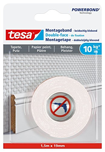 tesa Montageband für Tapeten und Putz, 1,5m x 19mm -