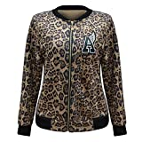 Abrigo con Cuello en O con Estampado de Leopardo Zip Up Chaqueta de béisbol de Manga Larga para Mujer (Color : Brown, Size : S)