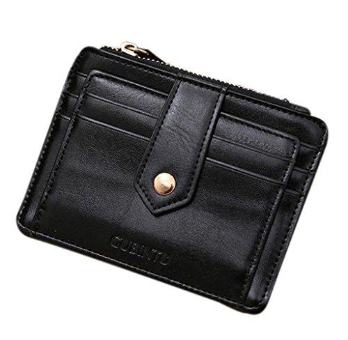 Geldbörsen, Rcool Mini-Leder Reißverschluss-Kreditkarte Identifikation-Halter-Geld-Klipp-Wallet (Schwarz) (Prada Schwarz Wallet)
