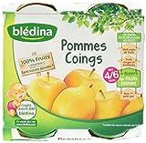 Blédina Pots Fruits Pommes Coings dès 4/6 Mois 4 x 130g - Lot de 6