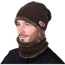 Goodbuy Gorro Invierno Hombre con Bufanda, Calentar Sombreros Gorras Beanie de Punto
