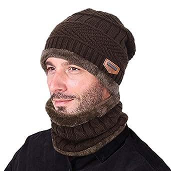 Goodbuy Berretto Uomo in Maglia per Inverno Caldo Cappello Beanie con Sciarpa (Caffè)