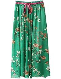 Quge Mujer Maxi Larga Falda Casual Bohemia Playa Gasa Skirt Con Estampado  Floral 3276c9288e7f