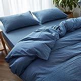 HEISHUAILEI Lavado de Algodón Algodón Algodón Simple Japanese-Style Four-Piece Plaid Color sólido Colcha Cama doble Cama Lin (ropa de cama, cama sección hoja rosa, azul denim, 1,5 m (5 pies) de la cama