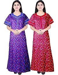Silver Organisation Women Cotton Nighty, Gown, Sleepwear, Nightwear, Maxi - Soft and Stylish Night Suit, Cotton (Combo of 2 Pcs)